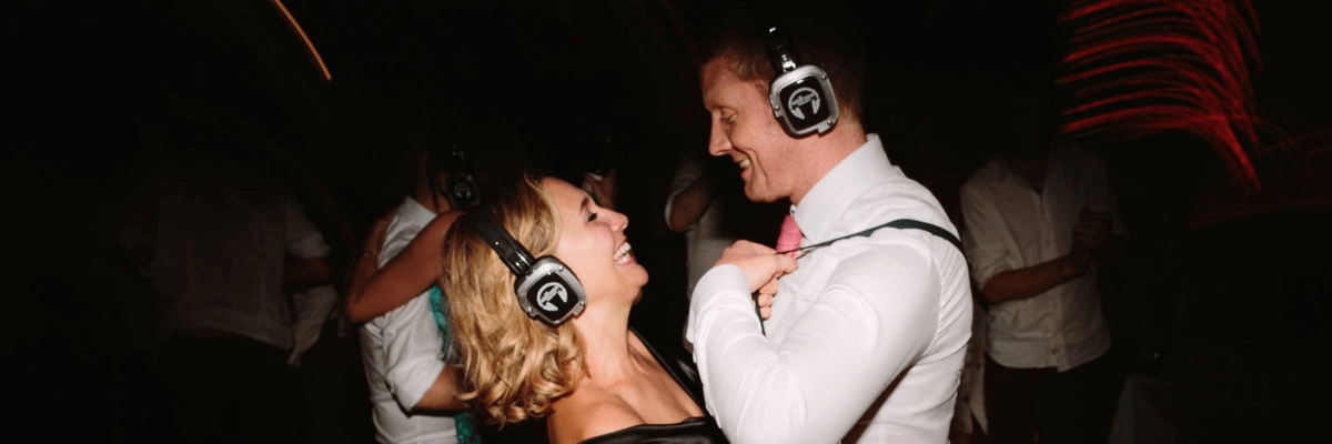 wedding silent disco headphone hire